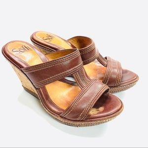Sofft Wedges Leather Sandal Cork Brown Size 6